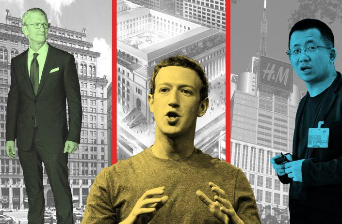 From left: Vornado Realty Trust's 11 Penn Plaza and Apple's Tim Cook, The Farley Post Office building and Facebook's Mark Zuckerberg, Durst Organization's One Five One and ByteDance CEO Zhang Yiming (Getty, VNO, SOM, Durst)