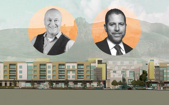 Scott Clark, chairman and CEO of The True Life Companies, and Madison Realty Capital's Josh Zegen with renderings of the project (The True Life Companies, Madison Realty Capital)