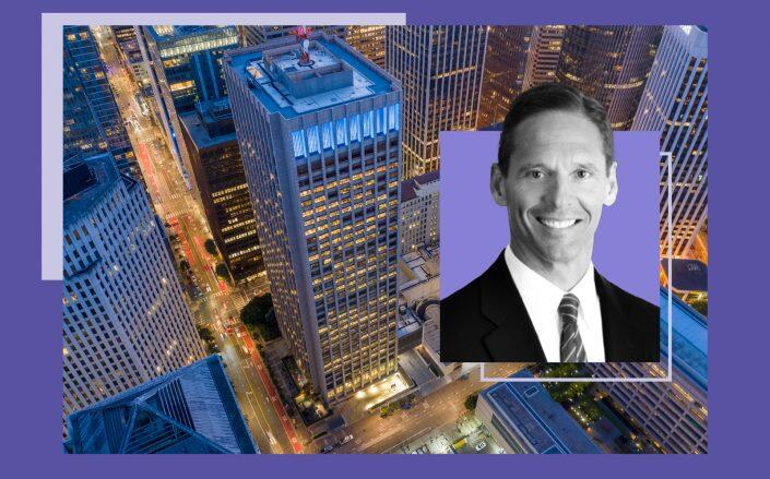 Hines' Paul Paradis and an aerial photo of the PG&E headquarters at 245 Market St. and 77 Beale St. (Hines, DigitalSky)