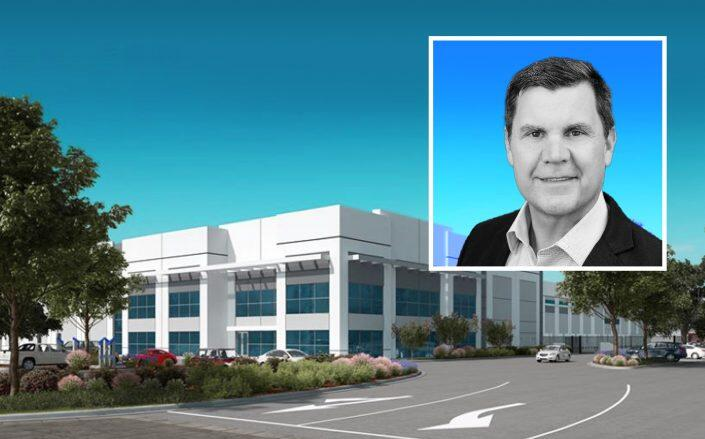Senior Managing Director at CBRE Global Gary Jaye and a rendering of the Tracy Logistics Center (CBRE)