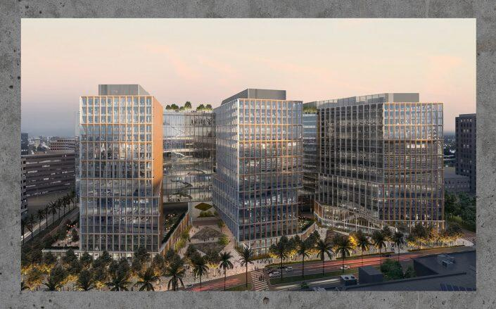 Rendering of Jay Paul Co.'s planned office campus that would replace the existing CityView Plaza (Gensler)