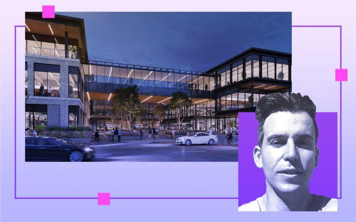 Premia Capital's Michael Halow and a rendering of the warehouse (LinkedIn, Rendering via Brick Architect)