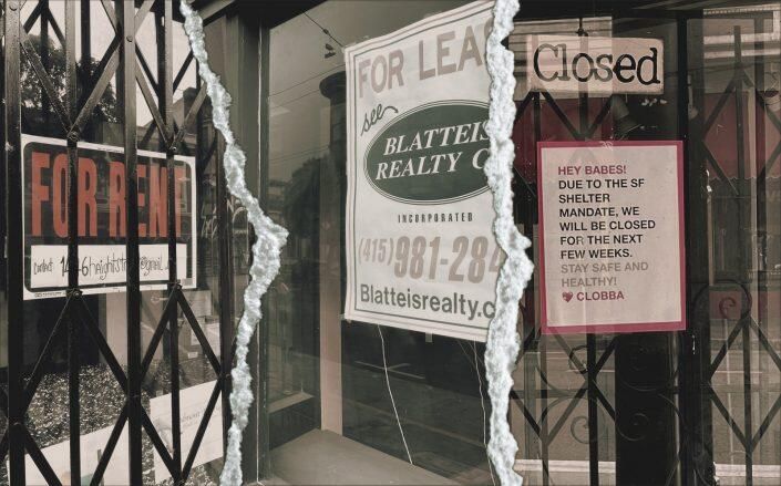 Empty commercial storefronts on Haight (Ph: Emily Landes)