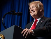 President Donald Trump addresses the National Association of Realtors on Friday (Credit: Getty Images)