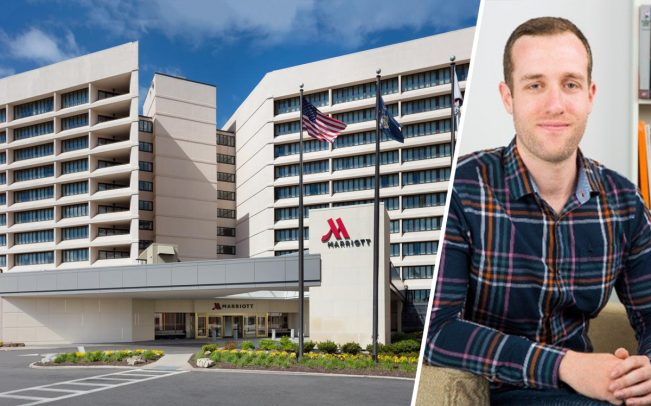 The Uniondale Marriott and Ten-X's Matthew Schreck (Credit: LinkedIn)