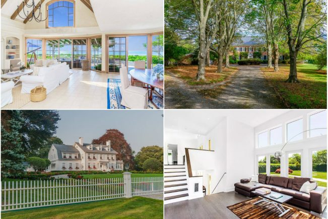 "Clockwise from top left: Former rail tycoon James Evans' waterfront estate in East Hampton lists for $60M, Water Mill waterfront home sees price dip below $18M, a modern Sagaponack home hits the market at $9.5M and East Hampton's ""White House"" gets a $3M price cut."