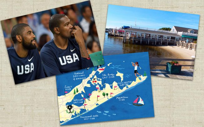 Clockwise from left: Kyrie Irving (left) and Kevin Durant, Gosman's Dock in Montauk, an illustration of New York's toniest golf clubs (Credit: Andrej Isakovic/AFP/Getty Images, illustration by Christiane Engel)