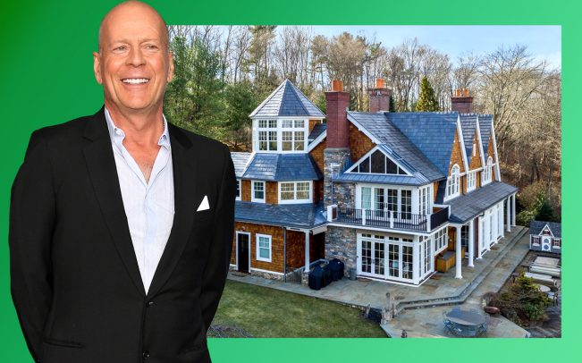 Bruce Willis and the property at 340 Croton Lake Road (Credit: Getty Images and Douglas Elliman)