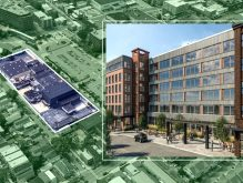 An aerial view and a rendering of The Element at 400 Claremont Avenue (Credit: Google Maps)