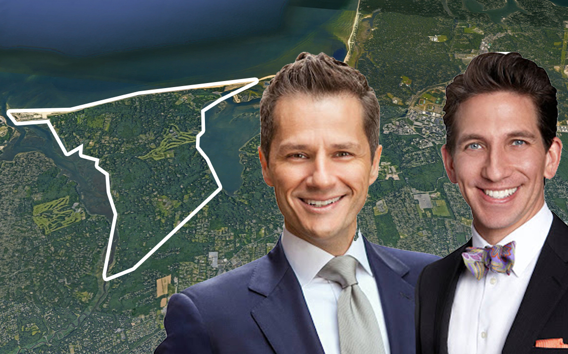 Tom Postilio and Mickey Conlon with an aerial view of Nissequogue (Credit: Google Maps)