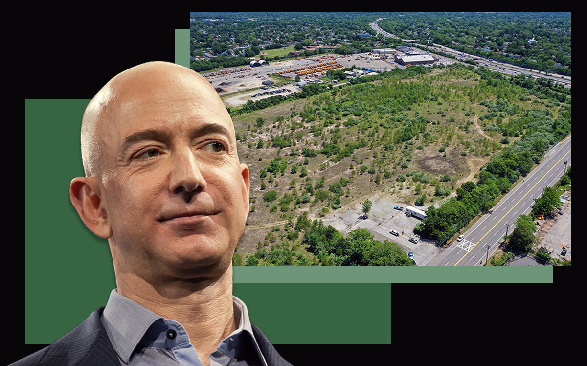 Jeff Bezos and an aerial view of the former Cerro Wire property (David Ryder/Getty Images; Bruce Bennett/Getty Images)