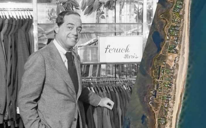Barneys New York Chairman Fred Pressman and an aerial of Southampton's Meadow Lane (Getty; Google Maps)