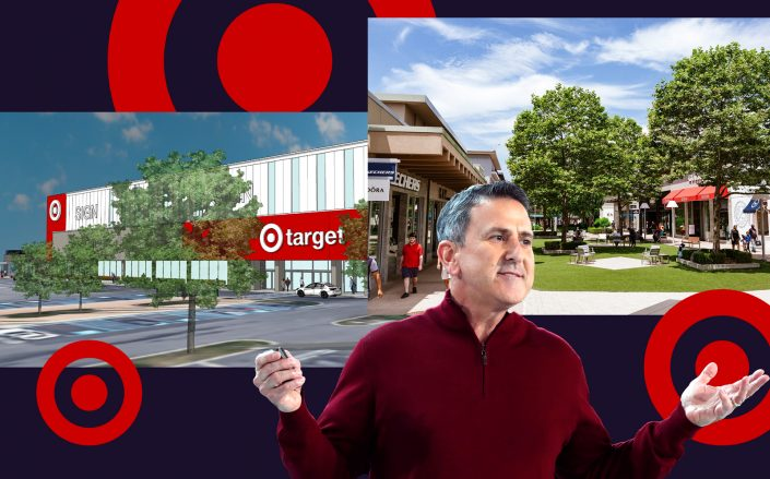 Renderings of Target at Cross County Center in Yonkers and Target CEO Brian Cornell (Photos via Marx Realty; Getty)