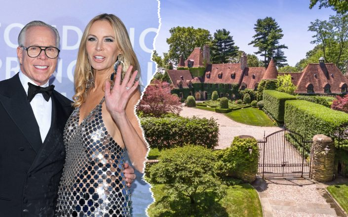 Tommy and Dee Hilfiger with the Greenwich estate (Photos via Getty; Sotheby's)