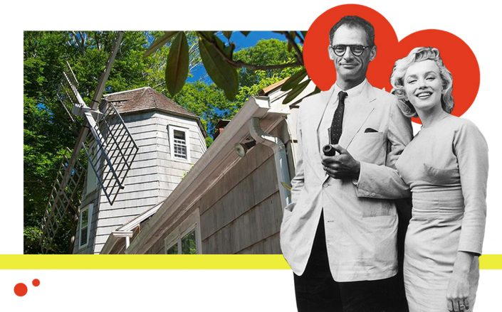 Arthur Miller and Marilyn Monroe with 64 Deep Lane (Getty, Realtor)
