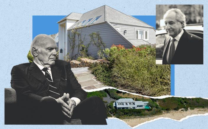 Steven Roth and (inset) Bernie Madoff with 216 Old Montauk Highway (Getty, Compass)