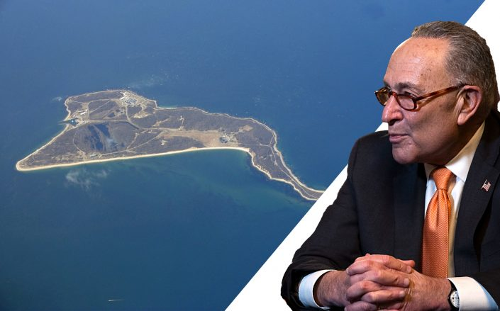 Senate Minority Leader Chuck Schumer (D-NY) and Plum Island (Photos via Getty; Wikipedia Commons)