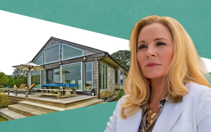 Kim Cattrall and 105 Gerard Drive in East Hampton (Getty: Sotheby's via Rebekah C Baker)