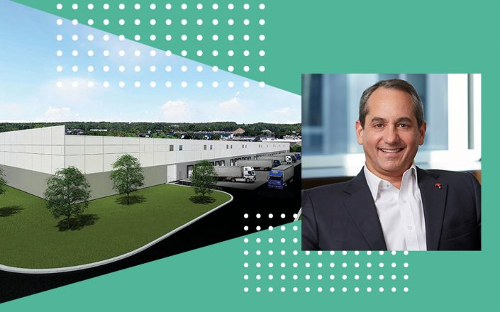 Travelers CEO Alan Schnitzer and a rendering of the distribution center (Photos via Travelers; rendering via JLL)