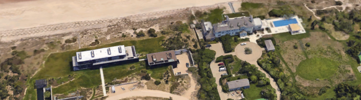 The former home of Calvin Klein (left) was purchased by Ken Griffin in February for $84M. Next to it is the mansion belonging to Marcia Riklis, now listed for $175M. (Source: Google Earth.)