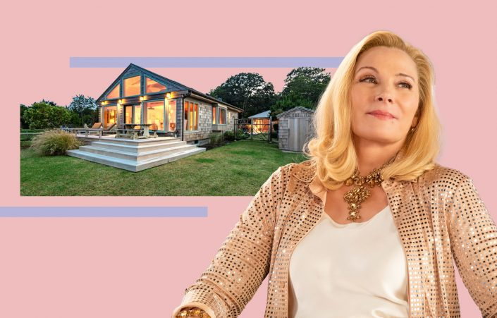 Kim Cattrall and 105 Gerard Drive in East Hampton (Getty; Sotheby's via Rebekah C Baker)