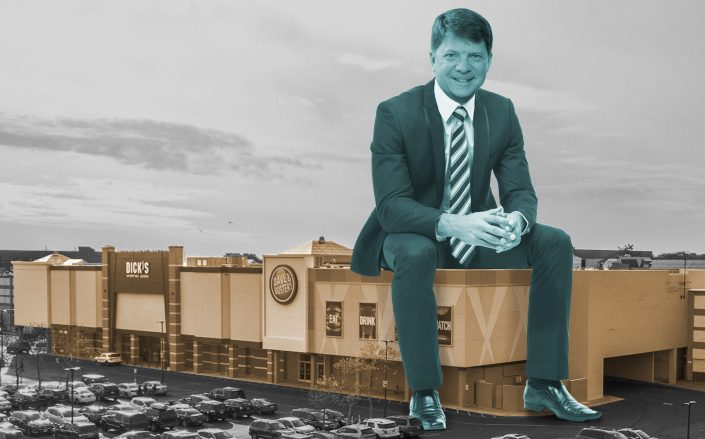 Photo Illustration of Urban Edge CEO Jeff Olson and Sunrise Mall in Massapequa, NY. (Getty, Urban Edge)