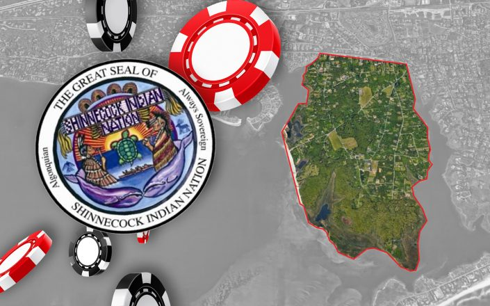 The Shinnecock Nation seal and an aerial of Shinnecock Nation in Southampton (Photos via Facebook, iStock, Google Maps)