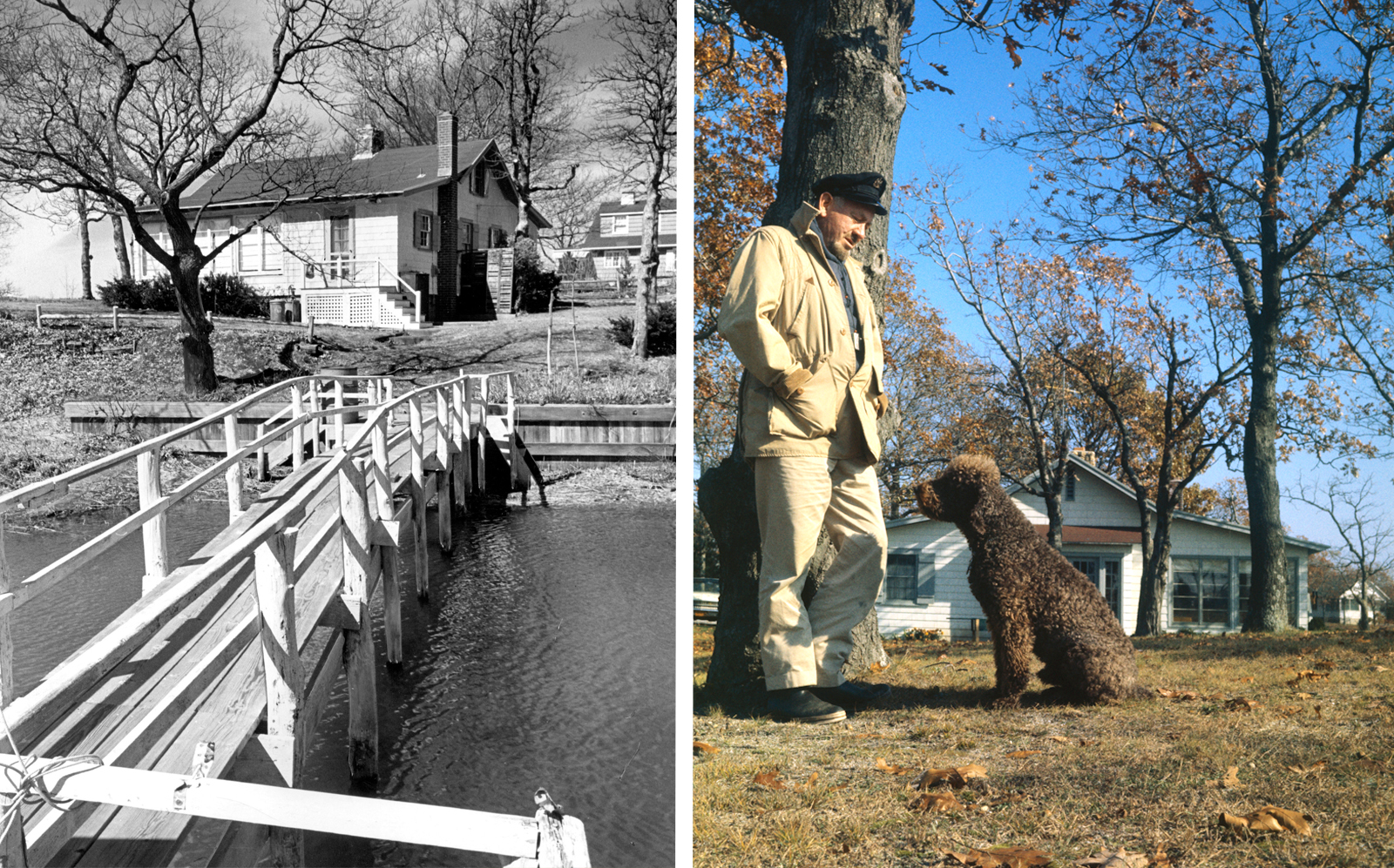 Photos from the 60s of John Steinbeck and his poodle Charley on their property. (Getty)