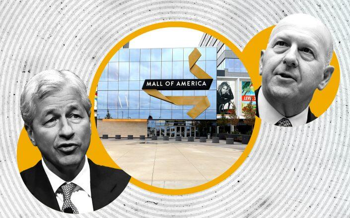 Mall of America with JPMorgan Chase' Jamie Dimon (left) and Goldman Sachs' David Solomon (Getty)