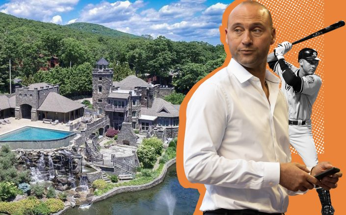 Derek Jeter and the lakefront mansion (Getty, Redfin, Wikipedia Commons)
