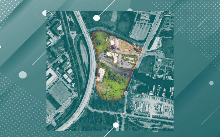 A Jersey City development meant to update sewer infrastructure, build climate resilience and create a two-acre park has completed phase one of environmental cleanup. (Aerial via Ennead Architects)