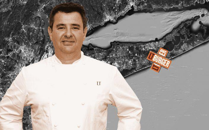 Laurent Tourondel's LT Burger is scheduled to open its Westhampton location this summer. (Google Maps, Getty, LT Burger)