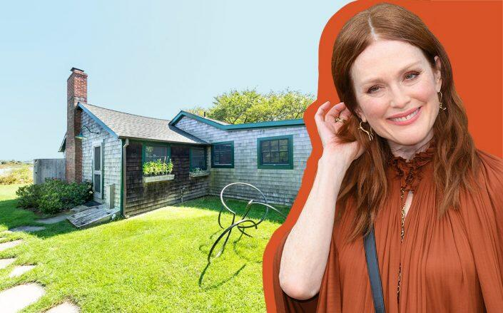Julianne Moore and 42 House 2 Road, Montauk (Getty, Zillow)