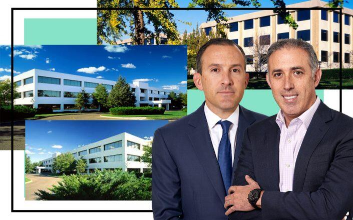 Josh Baumgarten (left) and Adam Schwartz, co-CEOs and co-Chief Investment Officers of Angelo Gordon with 2 Huntington Quadrangle, Melville, 6 and 8 Corporate Center Drive in Melville (Angelo Gordon, We're Group)