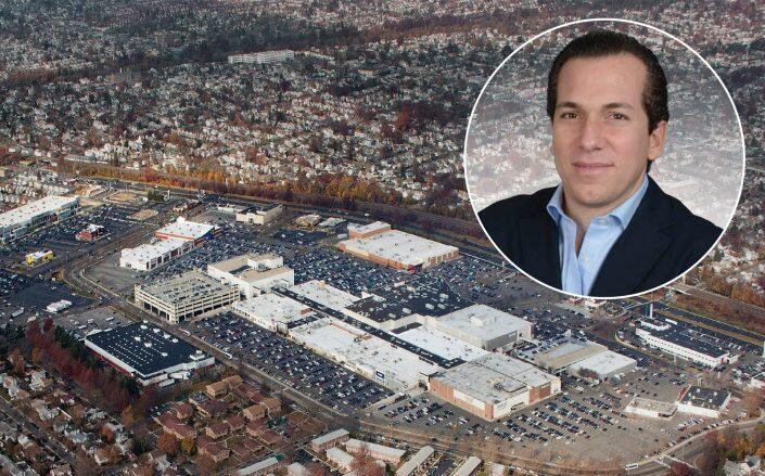 Shoppers World CEO Sam Dushey with an aerial shot of Green Acres Mall (Shoppers World, Macerich)