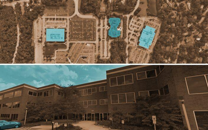 An aerial of the properties and a close up of 465 South Street, Morris Township (Google Maps)