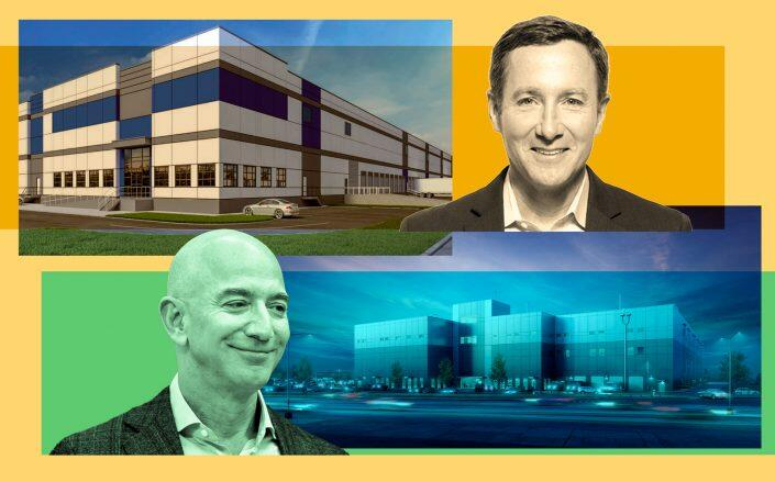 Peloton CEO John Foley with the Linden Logistics Center in Linden and Amazon CEO Jeff Bezos with the JFK Logistics Center at 253-51 Rockaway Boulevard in Woodmere (Getty, Peleton, CBRE)