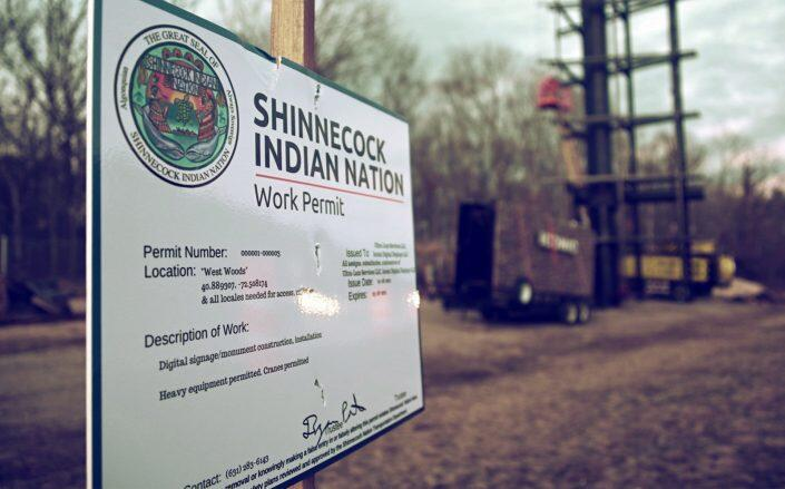 Signage from Shinnecock Indian Nation construction earlier this year (Getty)