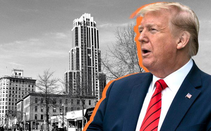 Trump Plaza New Rochelle at 175 Huguenot Street and Donald Trump (Getty, Anthony22/Wikimedia)