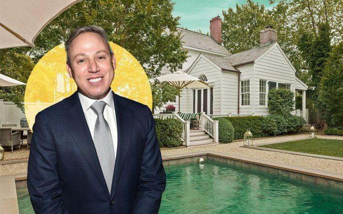 Realtor Michael Lorber with the Sag Harbor house (Out East, Getty)