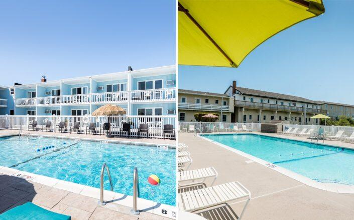 The Ocean Surf Resort at 84 S Emerson Avenue and Sands Motel at 71 South Emerson Avenue (Photos via Nest Seekers)