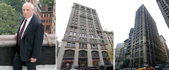 From left: Frank Ring, 251 Park Avenue South and 212 Fifth Avenue (building photo credits: PropertyShark)