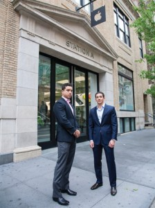 Sam Schneider, left, and Daniel Glaser of Imperium Capital at the Apple store building at 103 Prince Street, which they bought in 2011 for $70.85 million.
