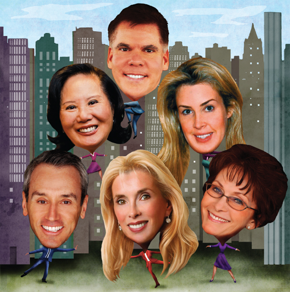 Clockwise from top: John Burger of Brown Harris Stevens, Serena Boardman of Sotheby's International Realty, Paula Del Nunzio of Brown Harris Stevens, Deborah Grubman of the Corcoran Group, Leonard Steinberg of Douglas Elliman and Carrie Chiang of Corcoran