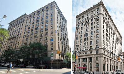 From left: 884 West End Avenue and the former Bossert Hotel at 98 Montague Street in Brooklyn Heights
