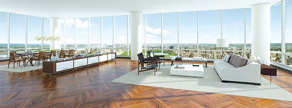 A rendering showing the expansive views from a One57 apartment