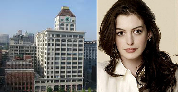 From left: the Clocktower Building at 1 Main Street in Brooklyn and Anne Hathaway