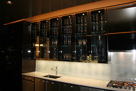 Baccarat crystal is used for everything at the showroom, even glasses of water.