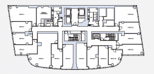 The office condos at 50 West range from 280 to 831 square feet.