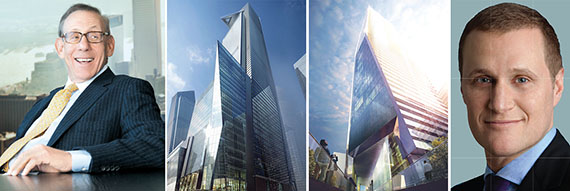 From left: Related's Stephen Ross, 30 Hudson Yards, 10 Hudson Yards and Tishman Speyer's Rob Speyer